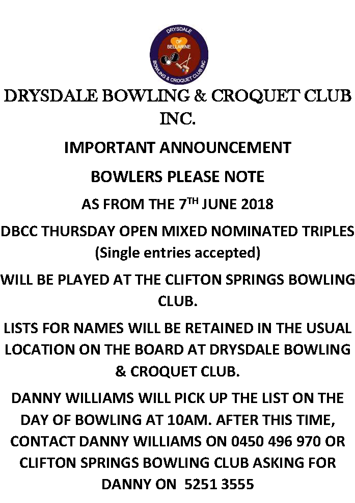 NOTIFICATION RE SOCIAL BOWLS FROM 7TH JUNE 2018 TRANSFER TO CLIFTON SPRING